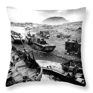 Iwo Jima Beach Throw Pillow by War Is Hell Store