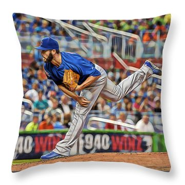 Jake Arrieta Chicago Cubs Pitcher Throw Pillow by Marvin Blaine