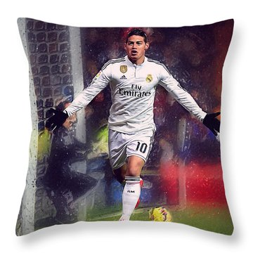 James Rodrigez Throw Pillow by Semih Yurdabak