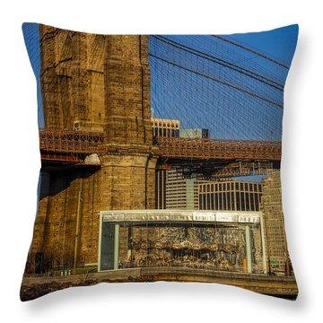 Jane's Carousel Brooklyn Bridge Throw Pillow by Susan Candelario