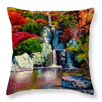Japanese Waterfall Throw Pillow by John Lautermilch
