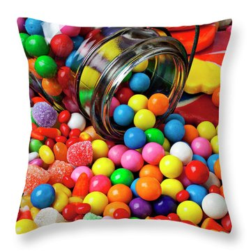 Jar Spilling Bubblegum With Candy Throw Pillow by Garry Gay