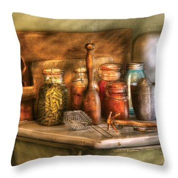 Jars - The Process Of Canning Throw Pillow by Mike Savad