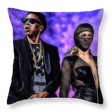 Jay Z And Beyonce Collection Throw Pillow by Marvin Blaine
