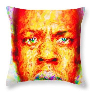 Jay-z Shawn Carter Digitally Painted Throw Pillow by David Haskett