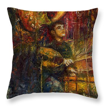 Jazz Bass Guitarist Throw Pillow by Yuriy  Shevchuk