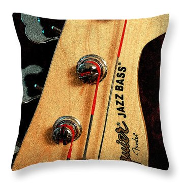 Jazz Bass Headstock Throw Pillow by Todd A Blanchard