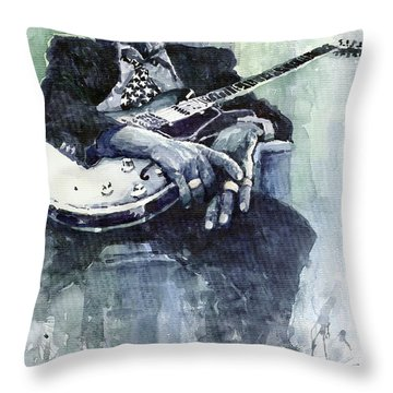 Jazz Bluesman John Lee Hooker 04 Throw Pillow by Yuriy  Shevchuk