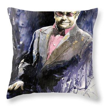 Jazz Sir Elton John Throw Pillow by Yuriy  Shevchuk