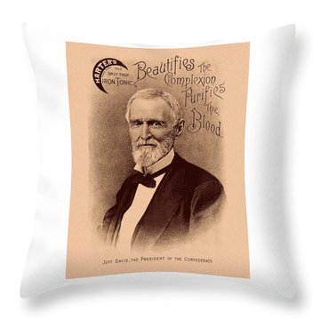 Jefferson Davis Vintage Advertisement Throw Pillow by War Is Hell Store
