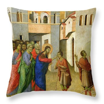 Jesus Opens The Eyes Of A Man Born Blind Throw Pillow by Duccio di Buoninsegna