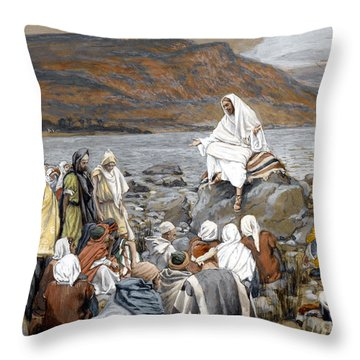 Jesus Preaching Throw Pillow by Tissot