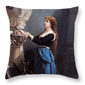 Joan Of Arc  Throw Pillow by Photo Researchers