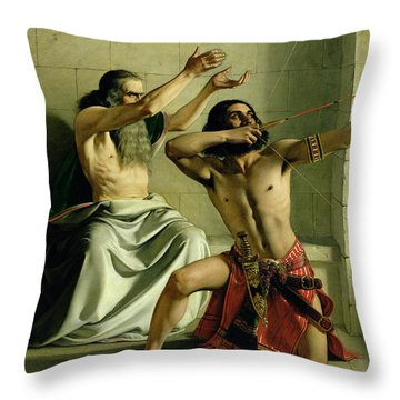 Joash Shooting The Arrow Of Deliverance Throw Pillow by William Dyce