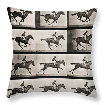 Jockey On A Galloping Horse Throw Pillow by Eadweard Muybridge