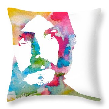 John Bonham Watercolor Throw Pillow by Dan Sproul