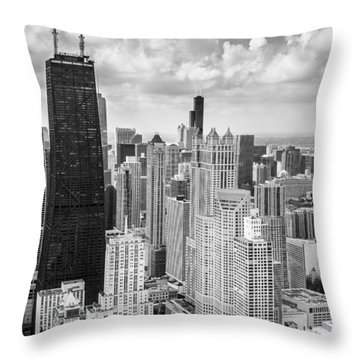 John Hancock Building In The Gold Coast Black And White Throw Pillow by Adam Romanowicz