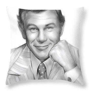 Johnny Carson Throw Pillow by Greg Joens