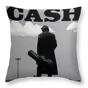 Johnny Cash Throw Pillow by Tom Carlton