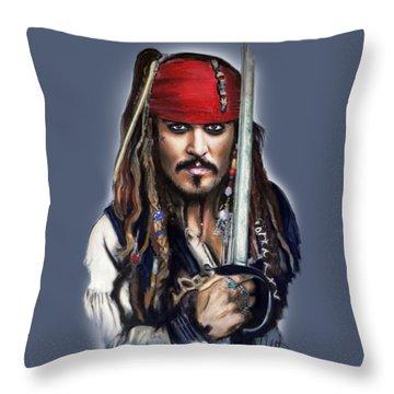 Johnny Depp As Jack Sparrow Throw Pillow by Melanie D