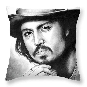 Johnny Depp Throw Pillow by Greg Joens