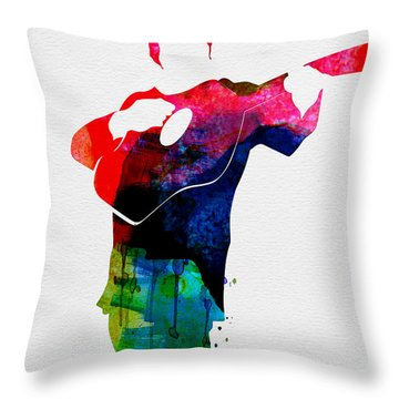 Johnny Watercolor Throw Pillow by Naxart Studio