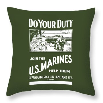 Join The Us Marines Throw Pillow by War Is Hell Store