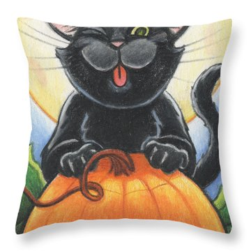 Jolly Ollie Halloween Throw Pillow by Amy S Turner