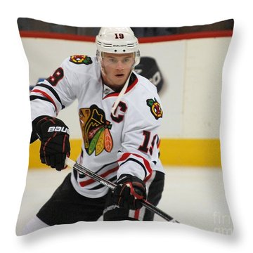 Jonathan Toews - Action Shot Throw Pillow by Melissa Goodrich