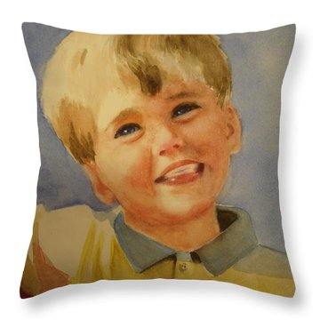 Joshua's Brother Throw Pillow by Marilyn Jacobson