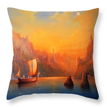 Journey To The Undying Lands Throw Pillow by Joe  Gilronan