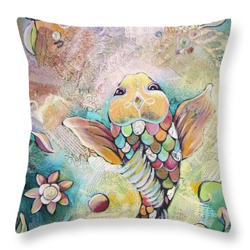 Joyful Koi II Throw Pillow by Shadia Derbyshire