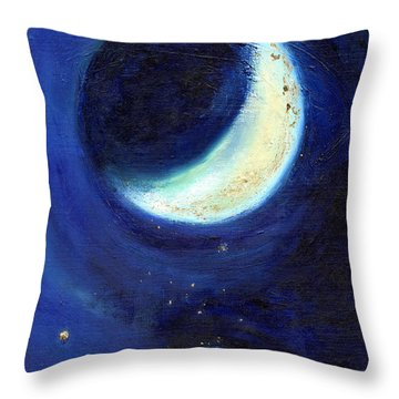 July Moon Throw Pillow by Nancy Moniz