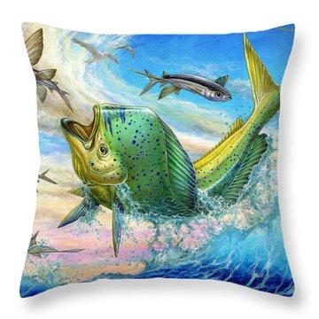 Jumping Mahi Mahi And Flyingfish Throw Pillow by Terry Fox