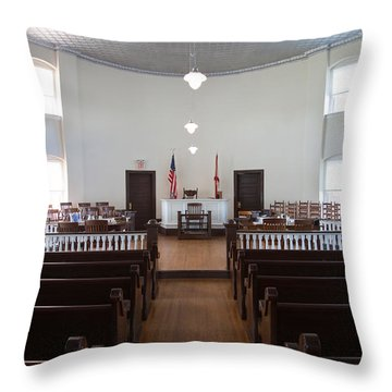 Jury Box In A Courthouse, Old Throw Pillow by Panoramic Images