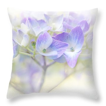 Just A Whisper Hydrangea Flower Throw Pillow by Jennie Marie Schell
