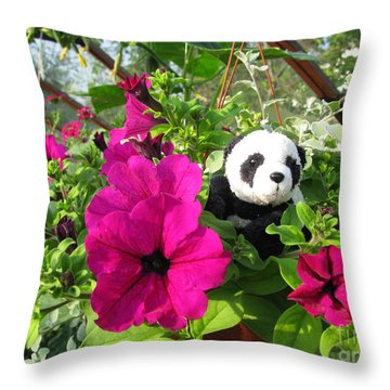 Just Hanging In There Throw Pillow by Ausra Huntington nee Paulauskaite