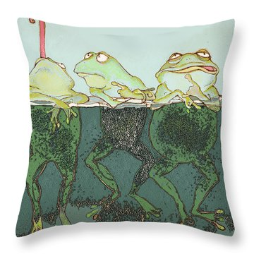 Just Hanging Throw Pillow by Peggy Wilson