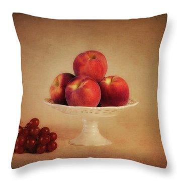 Just Peachy Throw Pillow by Tom Mc Nemar