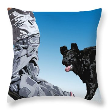 Just Throw The Stick Throw Pillow by Cathy  Beharriell