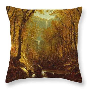 Kaaterskill Falls Throw Pillow by Sanford Robinson Gifford