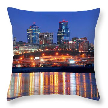 Kansas City Missouri Skyline At Night Throw Pillow by Jon Holiday