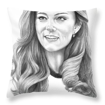 Kate Middleton Catherine Duchess Of Cambridge Throw Pillow by Murphy Elliott
