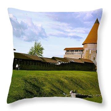 Kaunas Castle Throw Pillow by Arvydas Kantautas