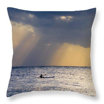 Kayak At Dawn Throw Pillow by Mike  Dawson