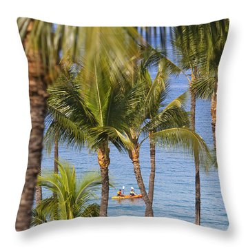 Kayakers Through Palms Throw Pillow by Ron Dahlquist - Printscapes