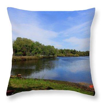 Kayaking The Cotee River Throw Pillow by Barbara Bowen