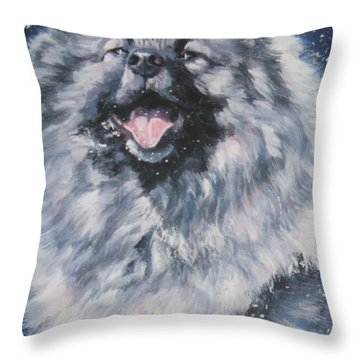 Keeshond In Snow Throw Pillow by Lee Ann Shepard