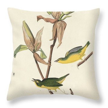 Kentucky Warbler Throw Pillow by John James Audubon