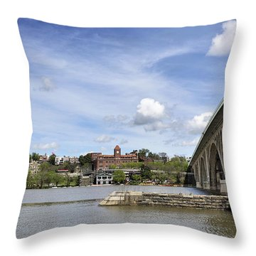 Key Bridge Into Georgetown Throw Pillow by Brendan Reals